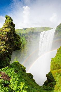 Skogafoss Iceland Art Print for sale. Amazing waterfall with double rainbow in a bright and fresh green paradise. Available as poster, framed print, metal, acrylic, wood or canvas print. Art for your Home Decor and Interior Design by Matthias Hauser.