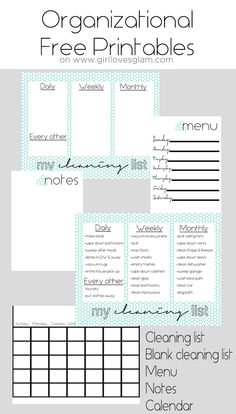 Organization Board Family Command Center - Girl Loves Glam Organizational Free Printables including cleaning list, blank cleaning list, menu, notes and calendar on