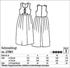 Nationaldragt - 27001 - Stof & Stil Clothing Patterns, Dress Patterns, Folk Costume, Costumes, Folk Fashion, Pattern Making, Textile Design, I Dress, Dress Making