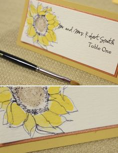 sunflower watercolor name plates. Love this so much!