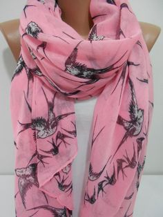 Bird Print Scarf Shawl Pink Cowl Scarf Swallow by MiracleShine, $16.90