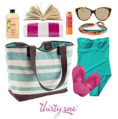 Thirty-One Gifts - Fit all this cuteness in and even cuter beach bag. The Euro Straw Tote in Turquoise Stripe $55 is the perfect beach bag! And you can get it for 50% off during March when you spend $35!!  #ThirtyOneGifts #ThirtyOne #Monogramming #Tote #BeachBag