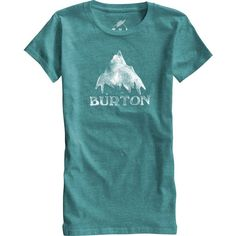Burton Stamped Mountain Recycled T-Shirt - Short-Sleeve ($30) ❤ liked on Polyvore featuring tops, t-shirts, blue tee, short sleeve t shirt, burton t shirt, logo tee and blue top