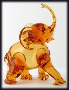 Vintage 1940s Murano Art Glass Elephant Figurine Amber Hand Blown Italian Art.