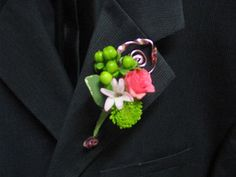 Prom Flowers - Boutonniere in pinks and Chartreuse