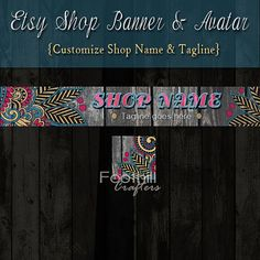 Etsy Shop Banner and Matching Avatar  Premade by FoothillCrafters, $8.00 #floralbanner #woodbackground #woodbanner #etsybanner #etsyshop #etsyavatar #foothillcrafters #custombanners #banner_ad #website_banner