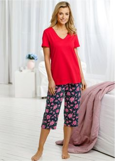 Pyjama (2-dlg.), bpc selection, donkerblauw gebloemd