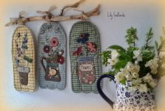 Wool Applique, Applique Quilts, Embroidery Applique, Sewing Art, Love Sewing, Quilting Projects, Sewing Projects, Japanese Patchwork, Quilted Potholders