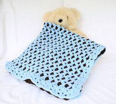 Crochet baby blanket reversible blue brown newborn boy infant throw stroller afghan thick nursery cr