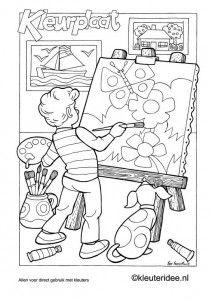 kleurplaat schilderij schilderen kunstenaar