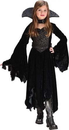 Black Rose Vampiress Costume - Girls Costumes [maybe with a red accent??] @Khari Waltke