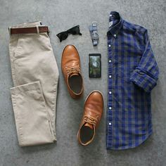 Classic way to style chinos and a buttondown. #menswear