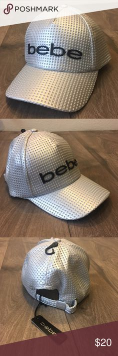 NEW 🖤 Bebe Silver baseball hat Brand New Still with Tags!  Bebe Silver baseball hat. Inside of hat has mesh layer so it won't get too hot!  Super cute, great hat to add to your wardrobe!  Adjustable strap closure on back.   👯♀️👯♀️Bundle for savings! bebe Accessories Hats