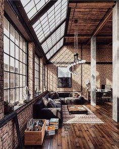 creatively industrial interior design ideas for house or office 7 ⋆ aviatech. Industrial Interior Design, Industrial Apartment, Industrial Interiors, Industrial House, Industrial Chic Decor, Loft Interior Design, Industrial Windows, Industrial Lighting, Modern Industrial