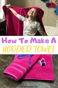 Looking for a super fun sewing project? Make a hooded towel for your kids with this How To Make A Kid's Hooded Towel Tutorial! We show you how easy it is to make these super fun towels. These hooded towels are all my kids want to use now. They ask for them so much I've made a few extra. You can make some too! They are great for the beach, the pool, or anywhere else it would be nice to easily tell your kid's towel apart from other. Because you can easily personalize these, they make great… Baby Sewing Tutorials, Baby Sewing Projects, Sewing Patterns Free, Sewing Ideas, Diy Projects, Best Baby Bibs, Hooded Towel Tutorial, Kids Hooded Towels, Cute Presents