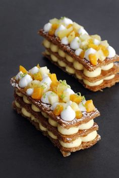 Tropical Mille Feuille Tropical Mille Feuille combining passion fruit, mango and coconut cream layered in 3 golden caramelized puff pastry. This dessert will make everyone say WOW Fancy Desserts, Gourmet Desserts, Plated Desserts, Tropical Desserts, Elegant Desserts, Cake Recipes, Dessert Recipes, French Pastries, Food Plating