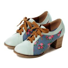Women Blue Floral Leather High Heel Retro Vintage Dress Oxford Shoes SKU-1090652