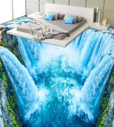 3D Blue Waterfall 1058 Floor Wallpaper Murals Self-Adhesive Removable Kitchen Bath Floor Waterproof