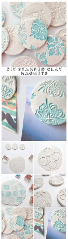 Diy Stamped Clay Magnets // Click through for full tutorial                                                                                                                                                                                 More