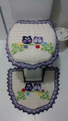 Conjunto de Banheiro em Crochê Coruja. / Set of bathroom Crochet Owl.