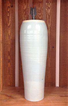 Handmade Porcelain Pottery Lidded Vase with Arrow Pull