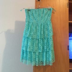 Baby blue dress Worn once for a photo shoot.baby blue flower print strapless dress Rue 21 Dresses Strapless