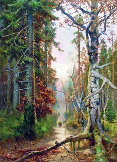 Yuly Klever. Autumn in the Forest. 1880s-90s