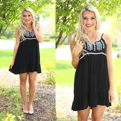 Embroidered Beauty Dress in Black
