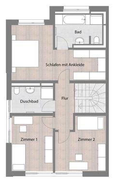 Doppelhaushälfte - Typ A - Obergeschoss 70,00 m² Statt masters hlafzimmer mit bad küche, essen und wohnen