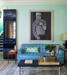 mint & blue living room #living_room.  I love this...feature coral & red pillows too! yum!