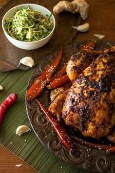 Ginger Chili Roast Chicken with Sticky Carrots and Zucchini Salad