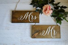 Rustic Wedding Chair Signs Mr and Mrs Wedding by RedHeartCreations