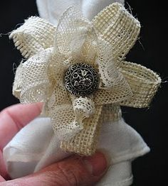 Burlap flower napkin holder