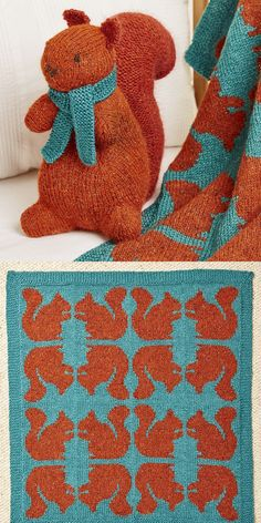Knitting Pattern for Ginger Squirrel Toy and Blanket - Adorable tweedy squirrel softie with a large bushy tail and a simple contrasting scarf, with matching blanket. The Ginger Blanket has features sq Small Knitting Projects, Knitting For Kids, Free Knitting, Baby Knitting, Simple Knitting, Knitted Afghans, Knitted Blankets, Softies, Intarsia Knitting