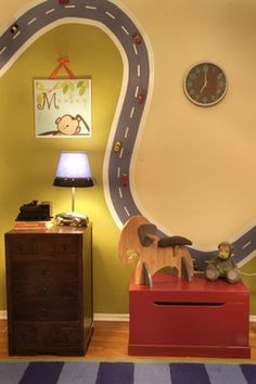 Super cool idea for magnetic paint. Wind a road across your son's bedroom walls and affix his toy cars along the route. Via theSnug.com