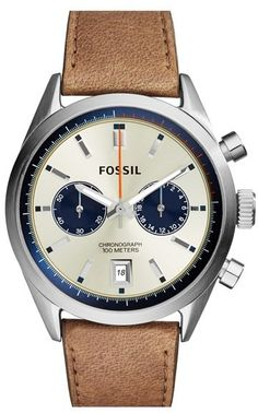 Fossil 'Del Rey' Chronograph Leather Strap Watch for men - Two chronograph subdials and a handy date window detail the three-hand dial of a classic leather-strap watch at Nordstrom.