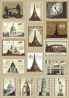 suitcase stickers stamps from around the world Pisa, New York. London, Paris, Rome etc Planner Stickers, Printable Stickers, Vintage Labels, Vintage Ephemera, Eiffel Tower Drawing, Pocket Letter, Suitcase Stickers, Decoupage, Etiquette Vintage