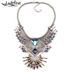 Luxury Crystal Gem Women Big Brand Vintage Maxi Statement Necklace Choker Collar 2820