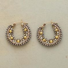 SCALLOPED HALF SHELL HOOPS -- Miyuki beads from Japan surround vermeil beads in a scalloped configuration. Handmade in USA with goldfill hinged wires. Seed Bead Earrings, Diy Earrings, Seed Beads, Bead Jewellery, Beaded Jewelry, Jewellery Making, Jewelry Gifts, Handmade Jewelry, Bijoux Diy