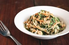 Peanut-Lime Brown Rice Noodles with Kale and Cabbage