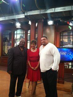 HOF Players Willie Roaf & Rickey Jackson with WWLTv's Sally Ann Roberts