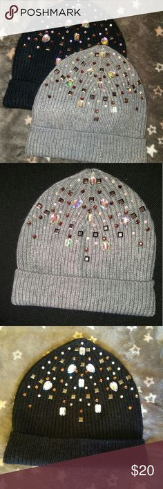 2 rhinestone bling knit beanies Both brand new, never worn. I got these last fall at Macy's for $38 each- I took the tags off but never ended up wearing them. But they are too cute to sit in my closet! One black and one grey, both encrusted with bling for that extra sparkle to add glamour to a bland, blustery day. I will do these both for $20 :) MIXIT Accessories Hats