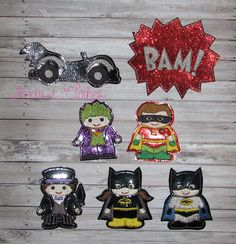Batman finger puppets and case embroidery design digital