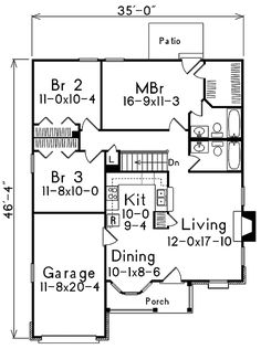 Country Charm for a Small Lot - floor plan - Main Level Basement House Plans, Ranch House Plans, Small House Plans, House Floor Plans, Tiny House Living, Cottage Living, Small Living, Small Cottages, Small Houses