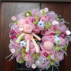 Deluxe Basketweave and Mesh Baby Girl Wreath by HertasWreaths on Etsy