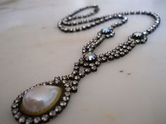 Gorgeous Vintage Rhinestone & Faux Pearl Necklace by luvmetwice, $35.00