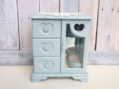 Your place to buy and sell all things handmade Shabby Chic Hearts, Blue Shabby Chic, Etsy Vintage, Vintage Shops, Vintage Items, Jewelry Chest, Heart Jewelry, Display Shelves, Display Case