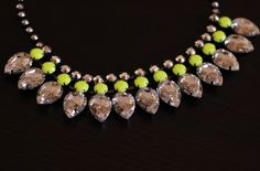 H neon yellow statement necklace