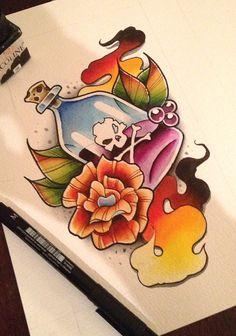 Poison - Tattoo Design by artisticrender on DeviantArt Tribal Tattoos, Tattoos Skull, Tatoos, Dibujos Tattoo, Desenho Tattoo, Americana Tattoo, Bottle Tattoo, Hp Tattoo, Traditional Tattoo Art