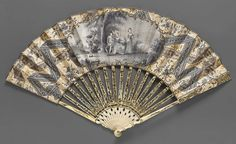 1755-1765, France - Mourning fan - Paper; printed and hand colored